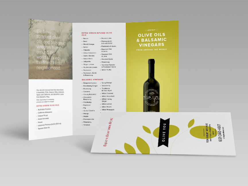 Bill Rogers Design - Olive You - Olive Oil Tri-fold Brocure - Print Design
