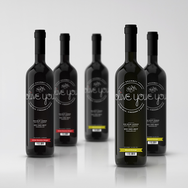 Bill Rogers Design - Olive You - Olive Oil & Balsalmic Vinegar Bottle Labels - Packaging Design