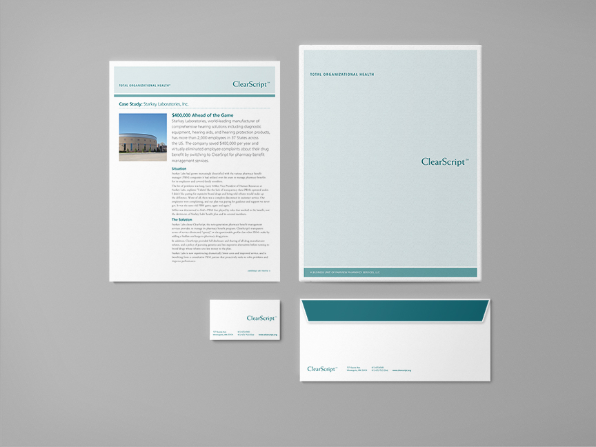 Bill Rogers Design - Fairview Pharmacy ClearScript Total Organizational Health - Stationary System Design - Brand Identity Design