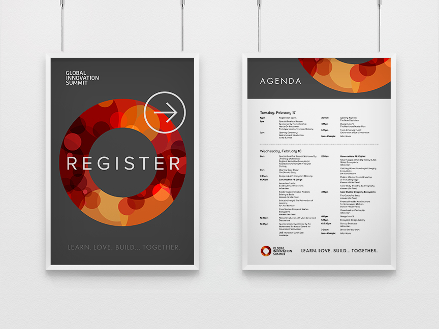 Bill Rogers Design - Global Innovation Summit - Event Signs - Agenda & Registration Poster - Brand Identity Design
