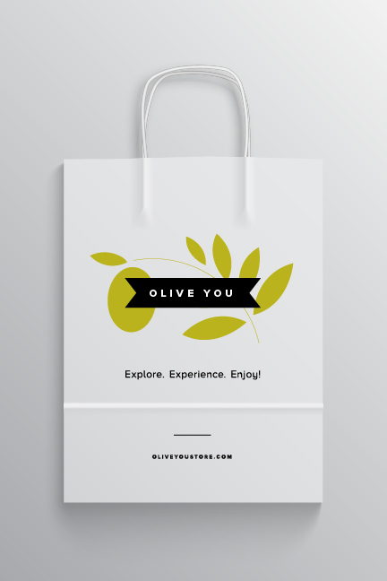 Bill Rogers Design - Olive You - Olive Oil Shopping Bag - Packaging Design