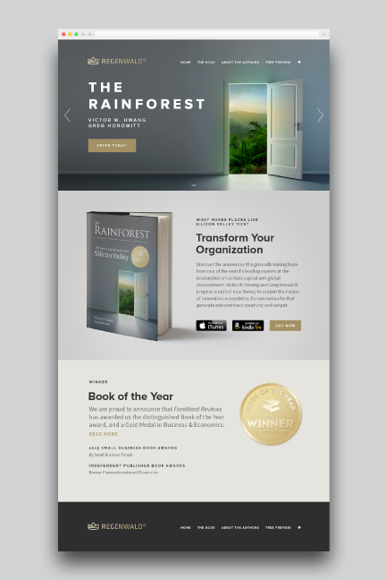 Bill Rogers Design - Regenwald - Microsite Web Design Detail - Rainforest Book - Brand Identity Design - The Secret to Building the Next Silicon Valley