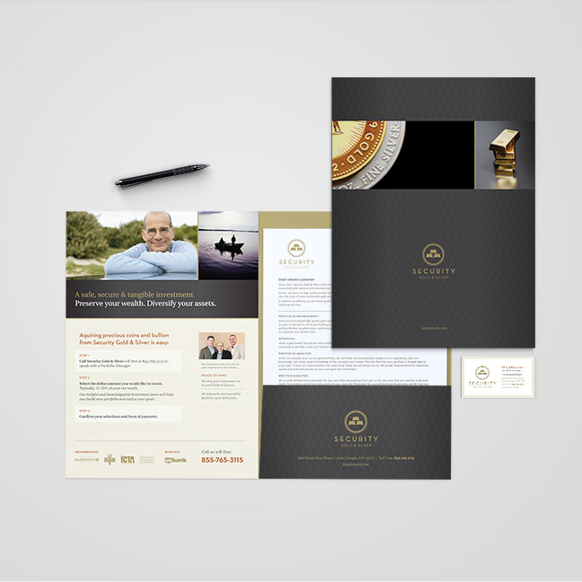 Bill Rogers Design - Security Gold & Silver - Business Card, Pocket Folder, Brochure Design - Brand Identity Design
