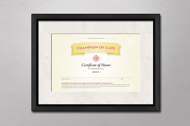 Bill Rogers Design - Fairview Foundation - Champions of Care Certificate