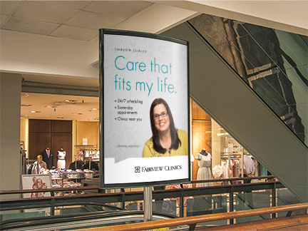Bill Rogers Design - Fairview Advertising - Fairview Clinics - Mall Kiosk Advertising - Campaign Ads