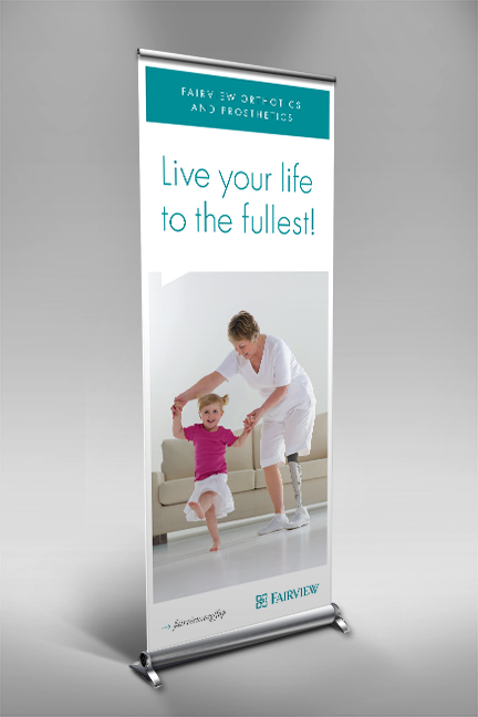 Bill Rogers Design - Fairview Advertising - Fairview Orthotics and Prosthetics - Window Shade Retractable Banner Design