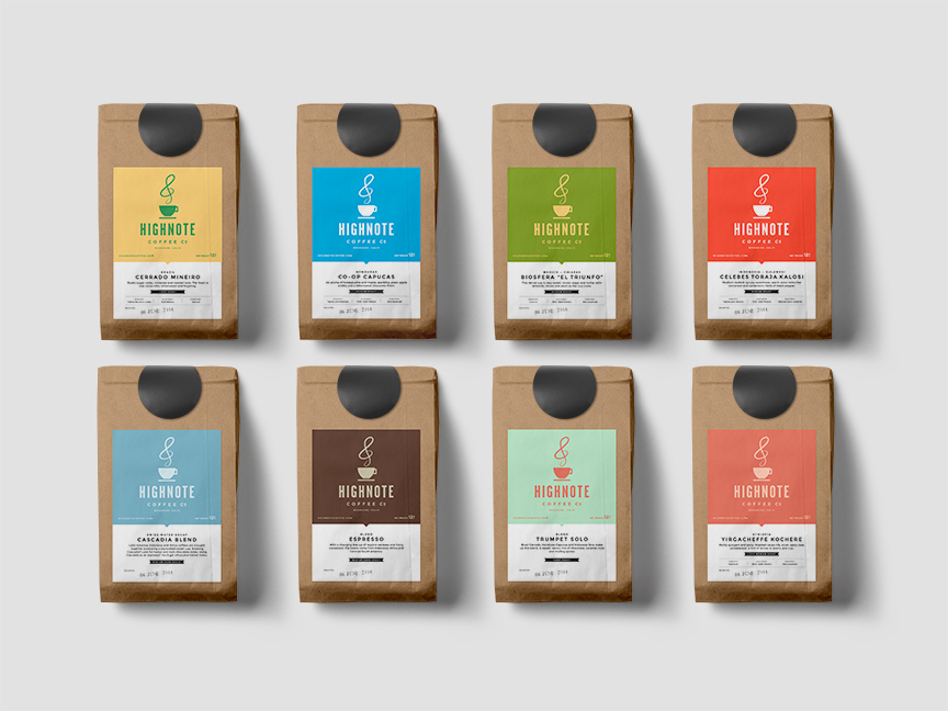 Bill Rogers Design - High Note Coffee - Packaging - Farmer's Market Packaging Line