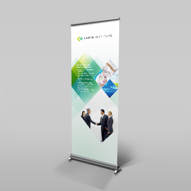 Bill Rogers Design - Larta Institute - Retractable Window Shade Banner - Brand Identity Design