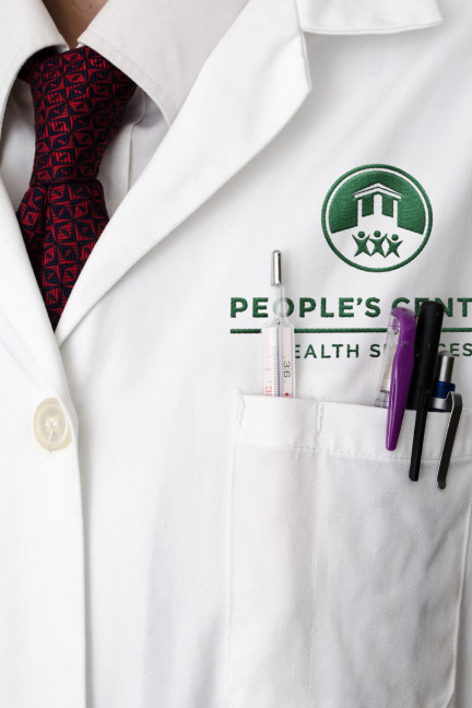 Bill Rogers Design - People's Center Health Services - Brand Identity Design - Stationary System - Patient Admission Form - Embroidered Lab Coat