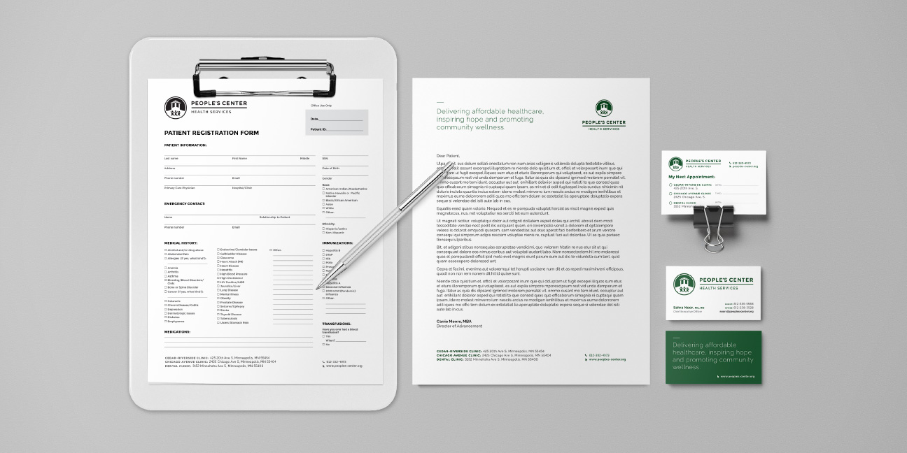 Bill Rogers Design - People's Center Health Services - Brand Identity Design - Stationary System - Patient Admission Form - Appointment Card