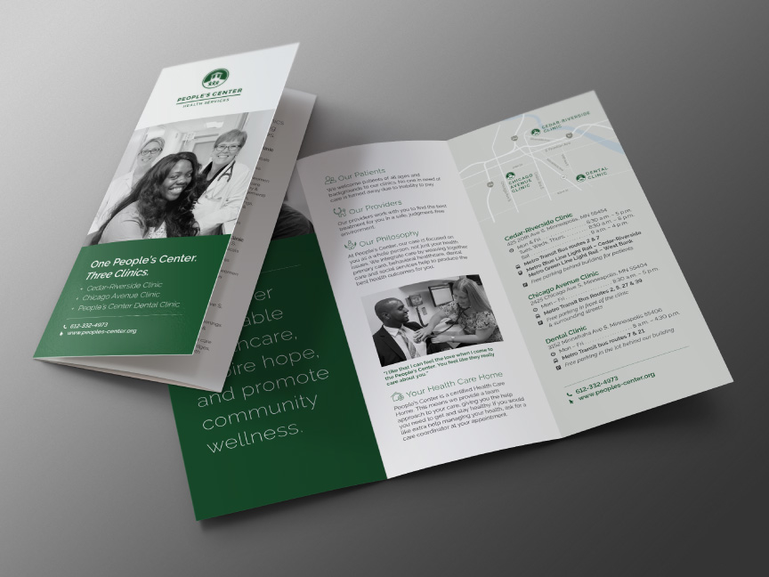 Bill Rogers Design - People's Center Health Services - Brand Identity Design - Patient Admission Form - Tri-Fold Brochure