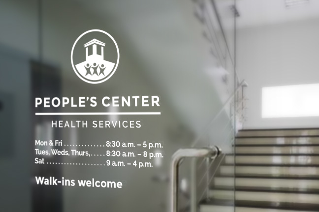 Bill Rogers Design - People's Center Health Services - Brand Identity Design - Patient Admission Form - Vinyl Window Graphics