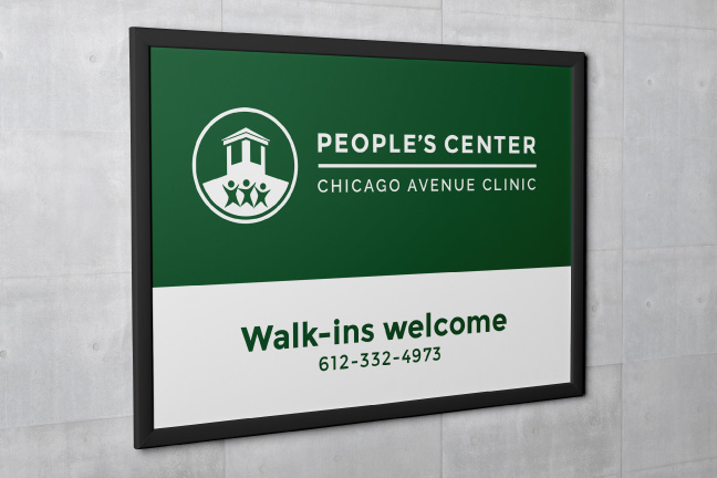 Bill Rogers Design - People's Center Health Services - Brand Identity Design - Patient Admission Form - Building Sign - Wall Sign