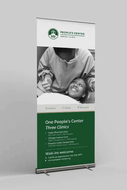 Bill Rogers Design - People's Center Health Services - Brand Identity Design - Patient Admission Form - Window Shade Rollup Banner