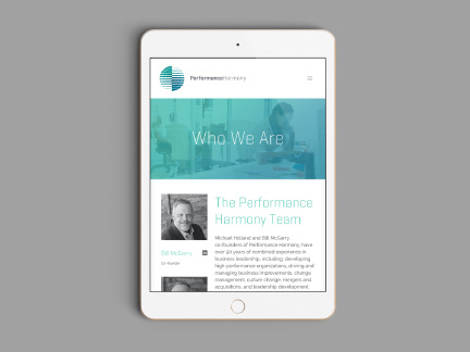Bill Rogers Design - Performance Harmony - Integrated Brand Identity Design - Responsive Web Design - Ipad