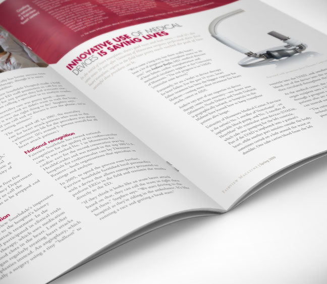 Bill Rogers Design - Fairview Magazine - Spread Detail - Publication Editorial Design - Innovative Heart Care & Medical Devices