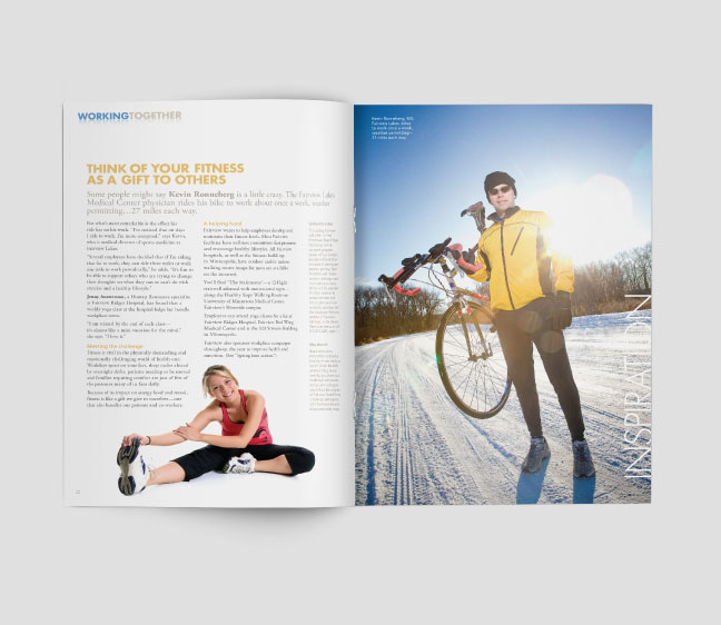 Bill Rogers Design - Fairview Magazine - Spread Detail - Publication Editorial Design - Personal Fitness & Kevin Ronneberg, MD Photo Finish