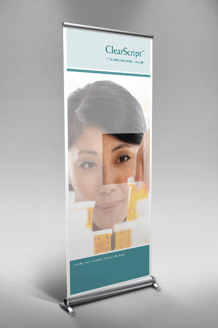 Bill Rogers Design - Fairview Pharmacy ClearScript Total Organizational Health - Retractable Window Shade Banner Design - Brand Identity Design