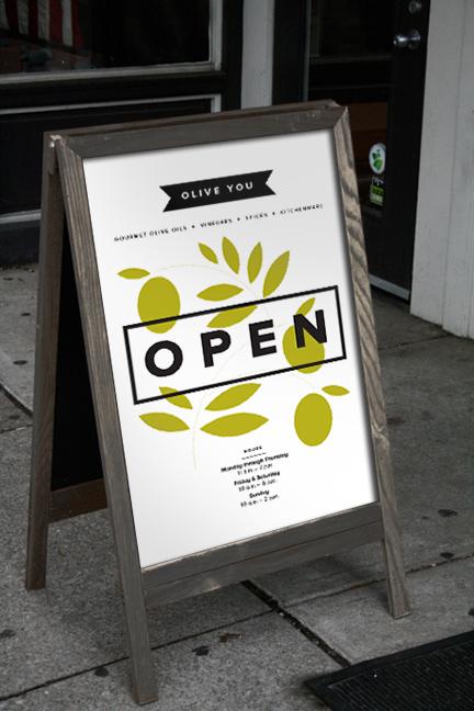 Bill Rogers Design - Olive You - Sidewalk Sign - Brand Identity Design